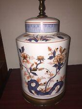 "Ginger Jar Porcelain Table Lamp Chinese Imari Style  29"" gilded, mauve, blue"