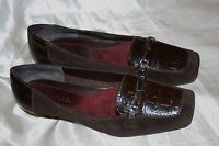 "AEROSOLES Women Brown Leather Suede 1"" Low Heel Loafers Shoes 8 M Playfill"