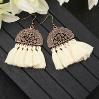Women Bohemian Long Tassel Fringe Drop Dangle Ear Stud Earrings Jewelry Gifts