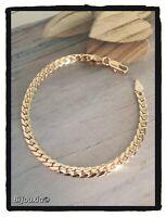 Bracelet Souple Maille anglaise Plaqué Or 18 Carats Poinçonné Bijoux Femme