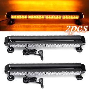 2pcs 54 LED 54W Emergency Hazard Warning Double Side Strobe Light Bar Amber 12V
