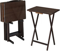 5-Piece Folding TV Tray Table Set All-Wood Dinner Laptop Stand, Set of 4, Walnut