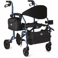 MEDLINE Excel Translator 2 IN 1 Transport Chair Combo Wheelchair Rollator, Blue