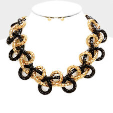 Gorgeous Statement Gold Black Braided Metal Chain Necklace Set By Rocks Boutique
