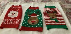 Three Christmas Holiday Warm Winter Dog Sweaters LARGE Santa Reindeer Green Red