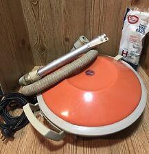 Vintage Hoover Celebrity Orange Flying Saucer Metal Vacuum S3005 + Bags Type H
