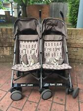 Love 'n' Care Twin Pram Brown Excellent Condition