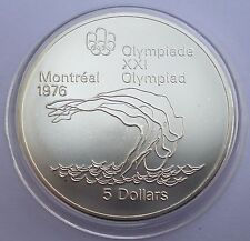 Canada 5 Dollars 1975 Silver coin UNC Platform Diver - Montreal Olympics 1976