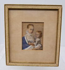 Antique Vintage Hand Colored Print or Watercolor Painting Miniature Woman