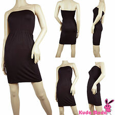 WOMEN STRAPLESS TUBE SEAMLESS  FIT FLARE CASUAL DRESS FOR BEACH COCKTAIL PARTY
