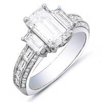 2.90 Ct Emerald Cut, Baguette & Round Diamond Platinum Engagement Ring F,SI1 GIA
