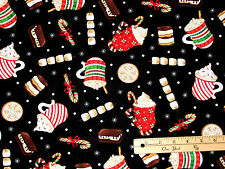 Gingerbread Holiday Hot Cocoa Chocolate Christmas Fabric  by 1/2 Yard  #C8147
