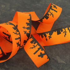 2m of Halloween Grosgrain Ribbon 25mm Orange Grave Yard scene H1