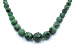 Gorgeous Genuine Faceted African GREEN EMERALD Graduated Bead Strand Necklace