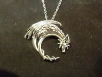 c812ce842990 Sterling Silver Dragon Necklace, Winged Dragon on Moon Pendant, Goth  Medieval