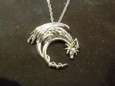 Sterling Silver Dragon Necklace, Winged Dragon on Moon Pendant, Goth Medieval