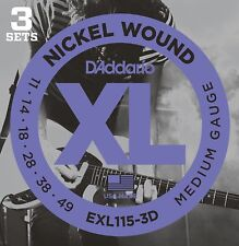 D'Addario EXL115-3D Electric Guitar Strings 11-49.Moderate Flexibility 3 Pack
