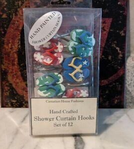 Shower Curtain Hooks Novelty Hand Painted Flip Flops Set of 12