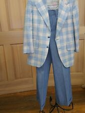 Vtg 70s Preppy Pastel Blue Plaid  Mens Suit w Soft Denim Cuffed Bell Bottoms