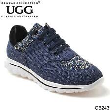 UGG OZWEAR LADIES EDITH SNEAKER TEXTILE + GEUNINE LEATHER CASUAL SHOES OB243