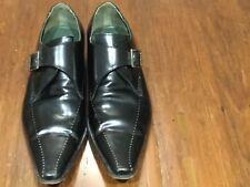 Jeffery West 'Black Line' single monk men's black leather shoes UK11 EU45 US12