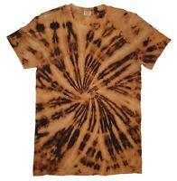 Bleached TIE DYE T SHIRT Black Spiral Top Tye Die Tshirt Festival Rainbow Tee
