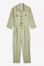 New Womens Ex Topshop Mint Green Utility Button Belted Boiler Jumpsuit Size 8-12