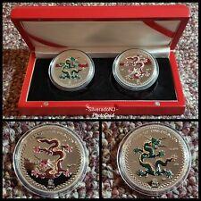 2012 $5 Palau Year of the Dragon 999 COLOR  Silver Coin Proof Set (2) oz BOX COA