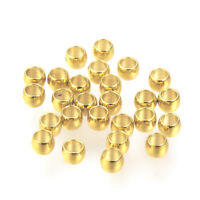 100pc Gold Plated 304 Stainless Steel End Crimp Beads Smooth Rondelle Tiny 3x2mm