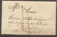 1827 Lettre Marque linéaire 21 LOUDEAC COTES DU NORD(21). SUP. F133