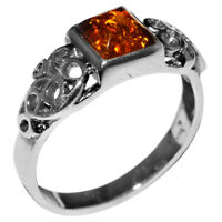 3.3g Authentic Baltic Amber 925 Sterling Silver Ring Jewelry N-A7264