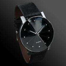Luxus Armbanduhr Männer Frauen schwarz Kunstleder Quarzuhr Herren Damen Glas NEU