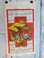 1975 Vintage Print Linen Wall Calendar Tea Towel Birdhouse Unused Craft A9