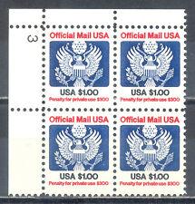 US Stamp (L216) Scott# O132, Mint NH OG, Nice Plate Block, Official