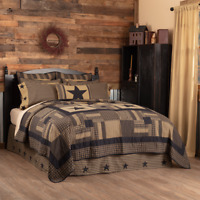 VHC Black Check Star Quilt (Your Choice Size & Accessories)  Primitive Black/Tan