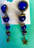 VINTAGE BRASS COBALT SAPPHIRE BLUE GLASS BEAD PIERCE COCKTAIL DROP LONG EARRINGS