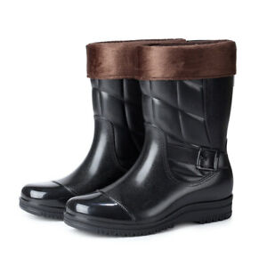 Men Velvet Detachable PVC Rubber Mid-calf Waterproof Rain Boots Work Water Shoes