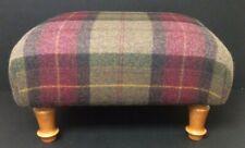 Tweed Wool Tartan Check FOOTSTOOL Burgundy Brown Autumnal