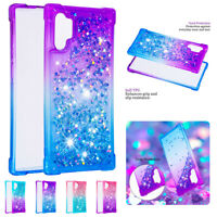 For Samsung Note 10 Plus S10 S9 S8 J7 Liquid Glitter Case Bling Shockproof Cover