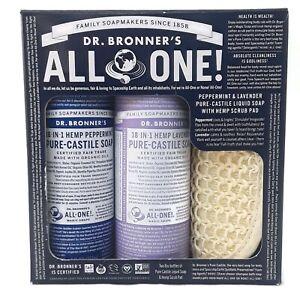 Dr Bronner's 18 in 1 Hemp Peppermint Lavender Liquid Soap w/ Scrub Pad 2 - 8 oz