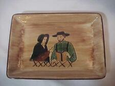 "Pennsburg Pottery Dutch Amish Man Woman Hanging Dish Plate 7 1/4 "" x 5 1/4 """