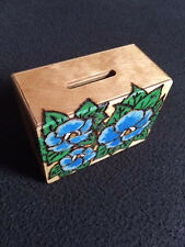 Pyrograved wooden hand crafted Pansy Money Box