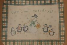 """Paper Placemats 1000 """"Very Cool Holidays"""" Snowman Penguins. NIB 12.5""""X16.5"""""""