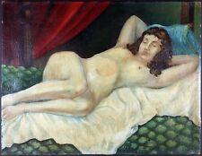 """Ancien Tableau """"Nu Couché"""" Peinture Huile Antique Painting"""