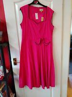 Lindy Bop Grace Size 18 pink Tea Retro Rockabilly Dress.