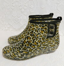 RETRO LEOPARD PRINT RUBBER ANKLE BOOTIES RAIN BOOTS~WOMENS 7 ~SNAPS~LOOK UNWORN