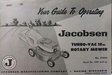 Jacobsen Walk-Behind 18 Turbo-Vac Rotary Mower Owner & Parts (2 Manual s) +Bonus