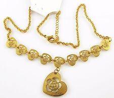 Edelstahl Collier Herz Anhänger Gold Vergoldet Kette Design durchbrochen 45cm