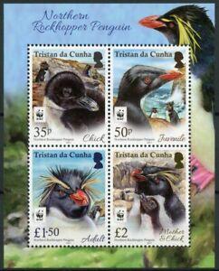 Tristan da Cunha Birds on Stamps 2017 MNH Rockhopper Penguin Penguins WWF 4v M/S