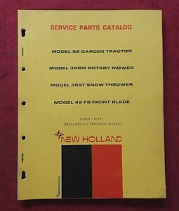 1972 NEW HOLLAND S8 LAWN & GARDEN TRACTOR PARTS CATALOG MANUAL MOWER DECK BLADE